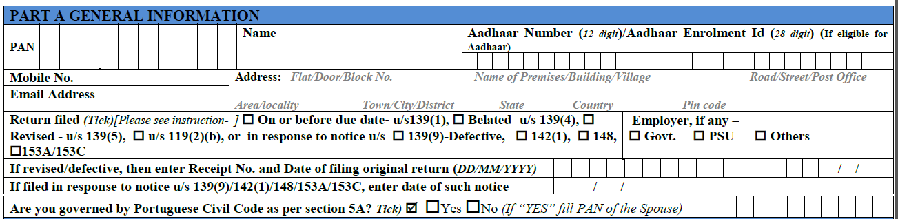How to fill ITR-1 form 1