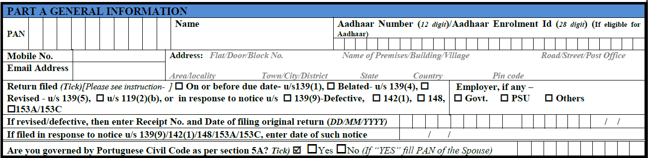 How to fill ITR-1 form details 1