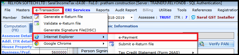 E-payment of Income Tax - Select Internet explorer