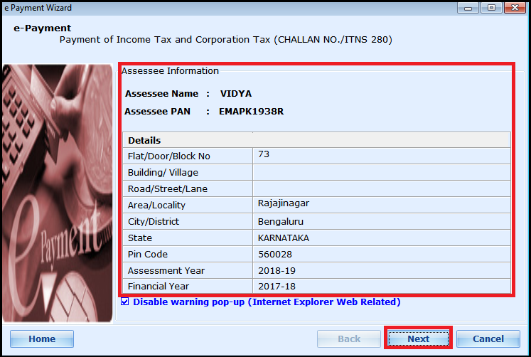 E-payment of Income Tax - Continue with auto fetch details