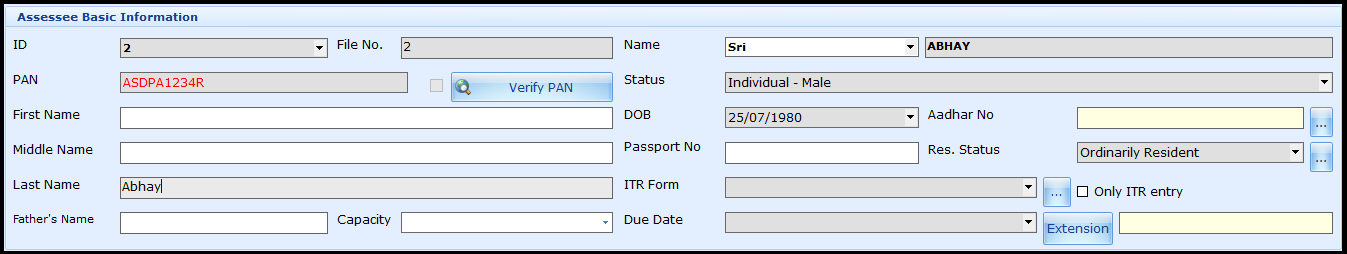 ITR Form selection in Saral Income Tax - enter basic assessee information