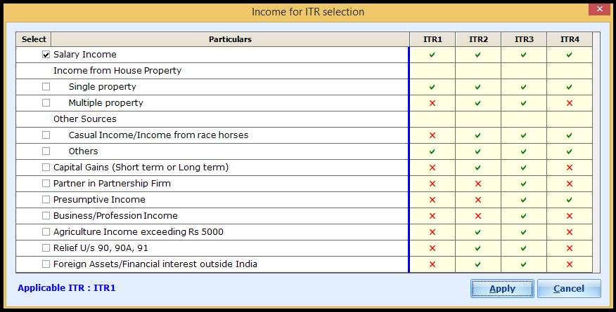 ITR Form selection in Saral Income Tax - ITR applicability