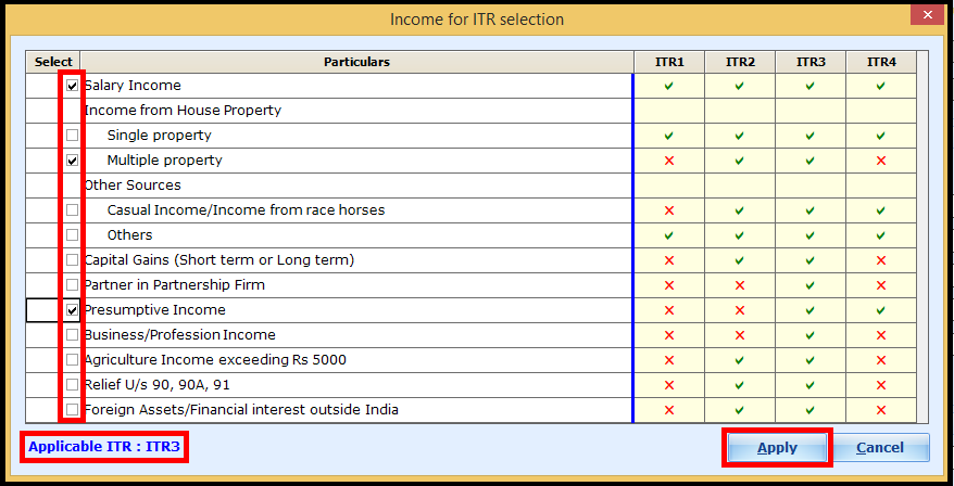 ITR Form selection in Saral Income Tax - Click on apply