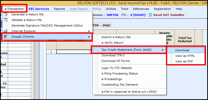 Download and import Form 26AS to Saral Income Tax - select download or view option