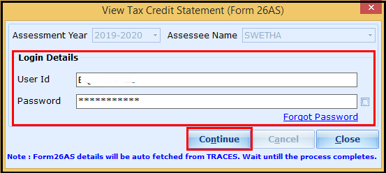 Download and import Form 26AS to Saral Income Tax - click on continue