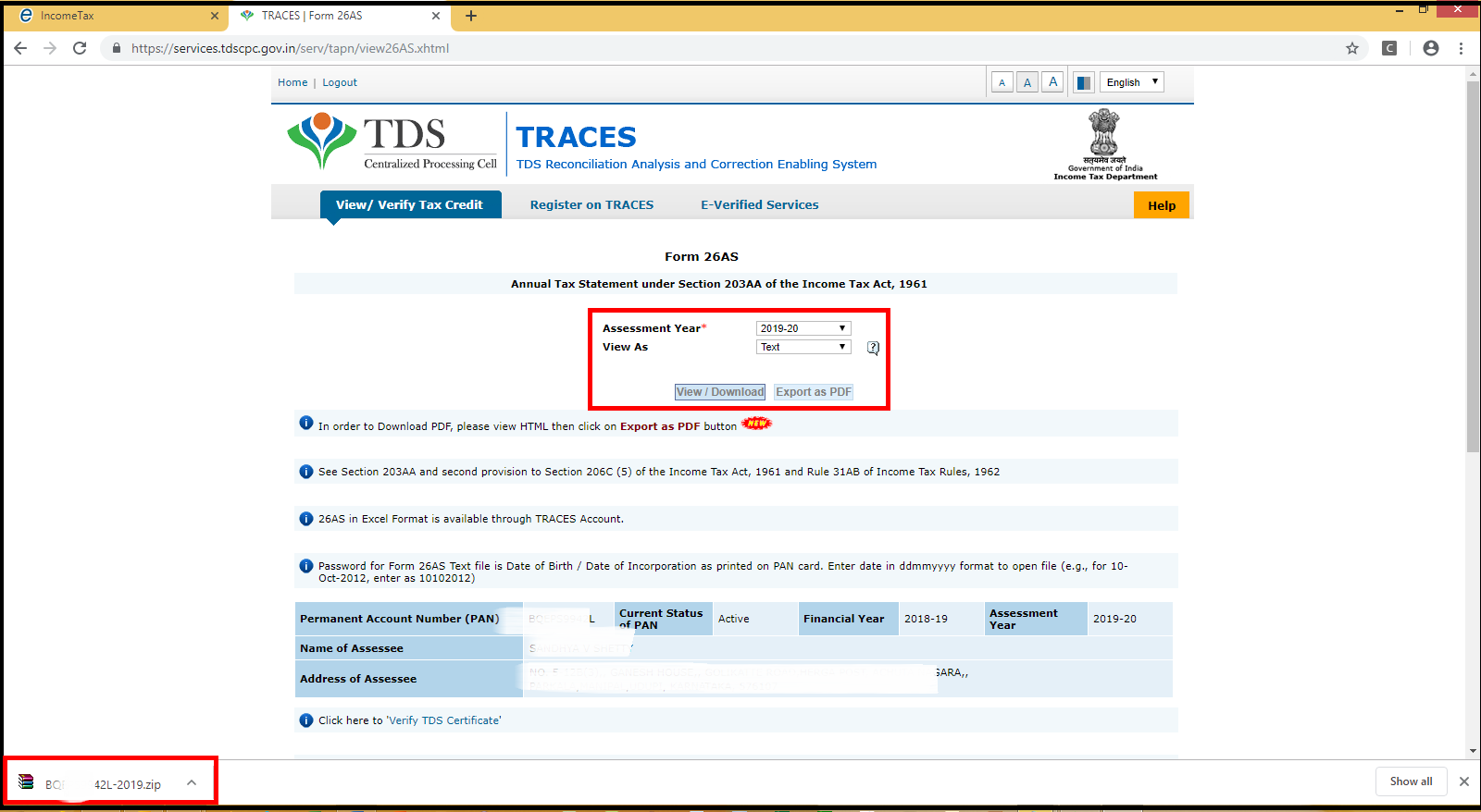 Download and import Form 26AS to Saral Income Tax - form 26AS details