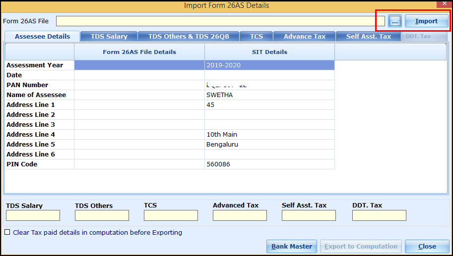 Download and import Form 26AS to Saral Income Tax - click on import