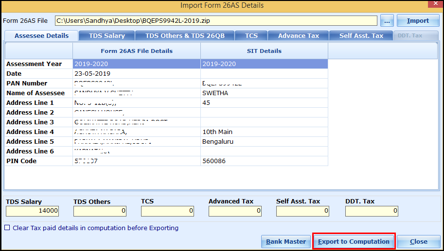 Download and import Form 26AS to Saral Income Tax - export to computation