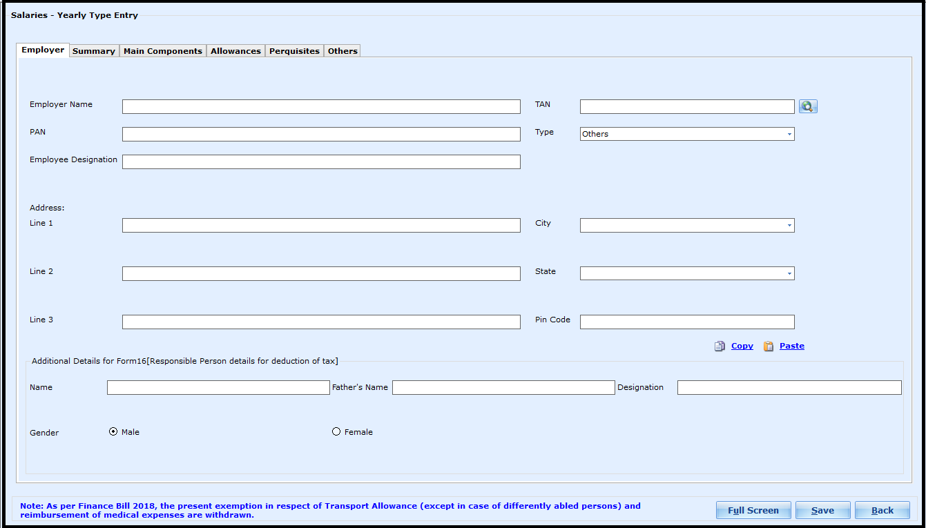 Salary Entry in Saral Income Tax - enter details in different tabs