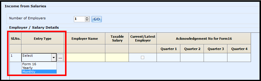 Salary Entry in Saral Income Tax - select monthly option