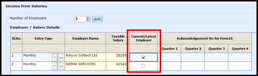 Salary Entry in Saral Income Tax - enable current/latest employer