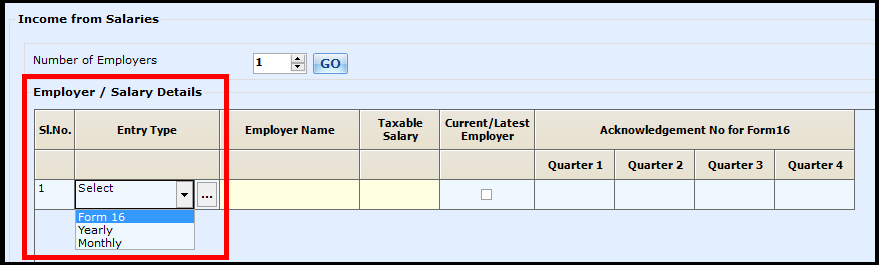Salary Entry in Saral Income Tax - Go to entry type
