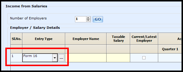 Salary Entry in Saral Income Tax - Select Form 16