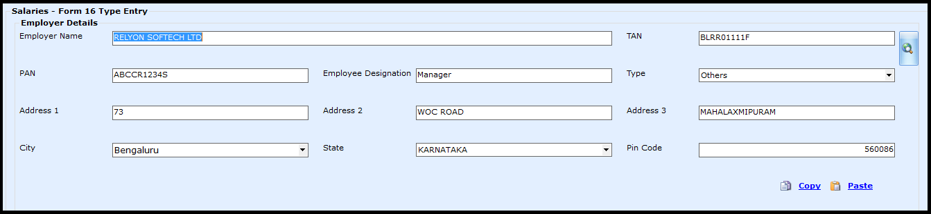 Salary Entry in Saral Income Tax - employer details as on form 16