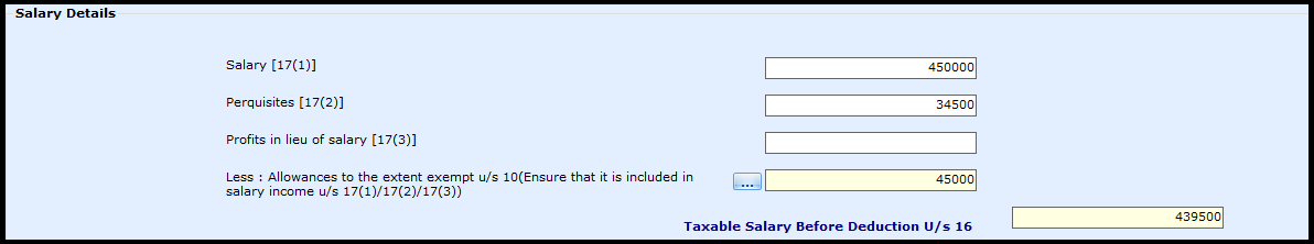 Salary Entry in Saral Income Tax - salary details as on Form 16