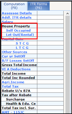 House Property income Saral Income Tax 1