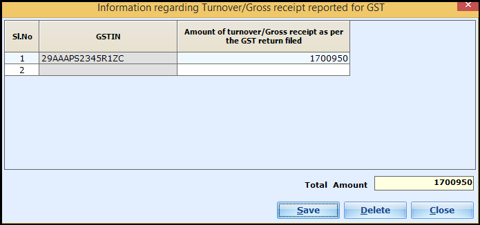 Presumptive Income Entry in Saral Income Tax - GSTIN and turnover