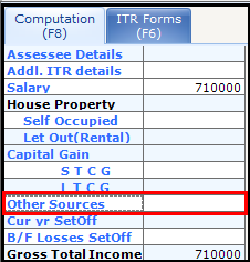 Other Sources of Income in Saral Income Tax - Other sources