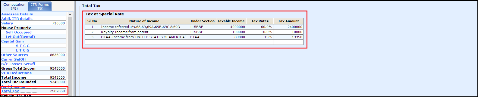 Other Sources of Income in Saral Income Tax - Total Tax Screen