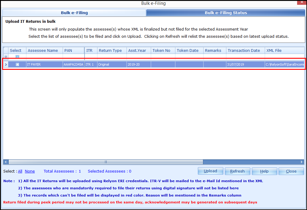 2.Bulk ITR Filing - Updated return finalized
