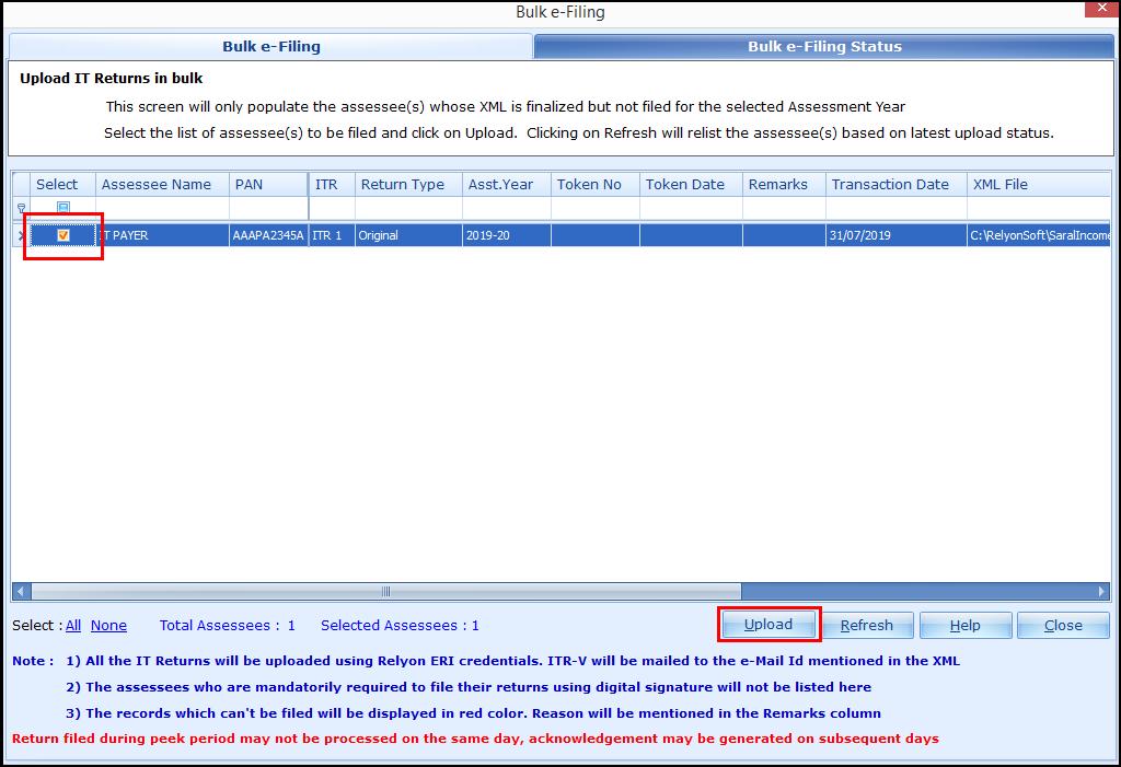 3.Bulk ITR Filing - Upload
