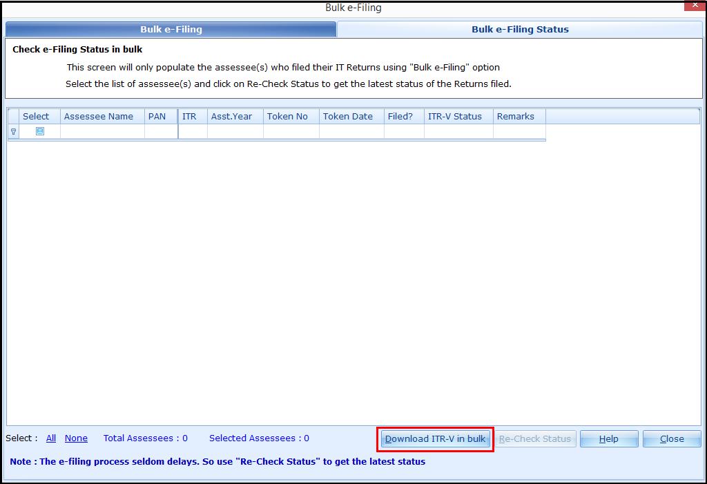 4.Bulk ITR Filing - Download ITR-V in bulk