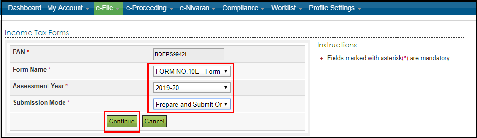 form 10e complete filing process 5