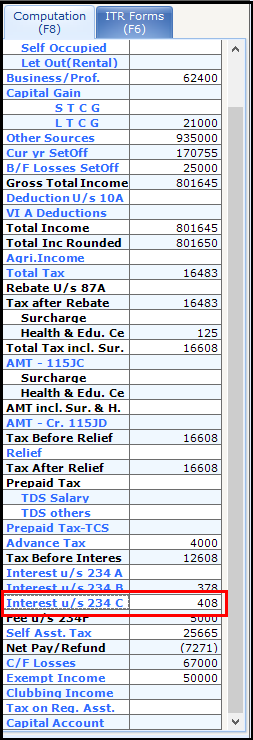 1.Interest under section 234C in Saral Income Tax - Click on 234c