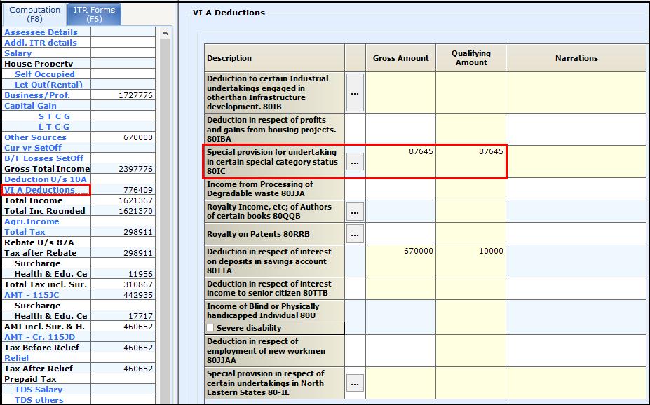 Alternate Minimum Tax (AMT) in Saral Income Tax 1
