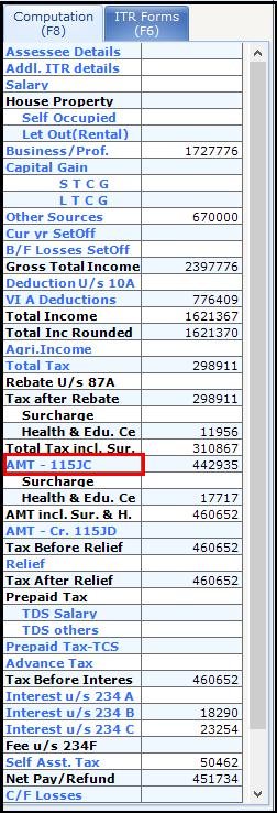 Alternate Minimum Tax (AMT) in Saral Income Tax 2Alternate Minimum Tax (AMT) in Saral Income Tax 2
