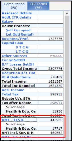 Alternate Minimum Tax (AMT) in Saral Income Tax - 5