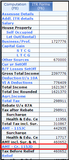 Alternate Minimum Tax (AMT) in Saral Income Tax - 6Alternate Minimum Tax (AMT) in Saral Income Tax - 6