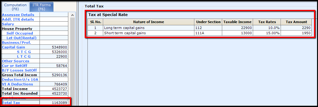 12.Capital Gains in Saral Income Tax-Total tax