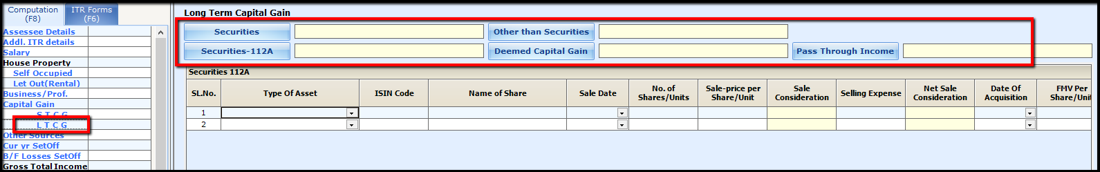 9.Capital Gains in Saral Income Tax-LTCG division
