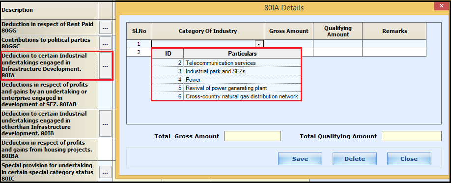 1.Chapter VI-A deductions in ITR-3-80-IA.