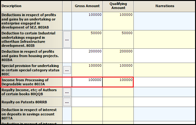 10.Chapter VI-A deductions in ITR-3-80JJA