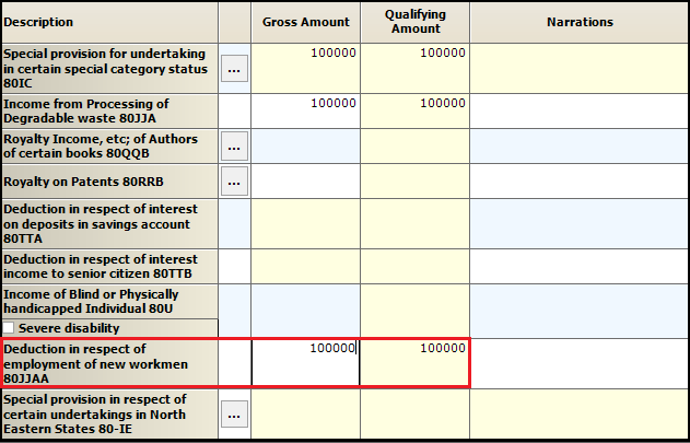 11.Chapter VI-A deductions in ITR-3-80JJAA