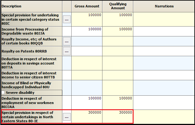 13.Chapter VI-A deductions in ITR-3-Option