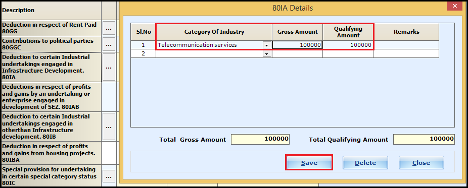 2.Chapter VI-A deductions in ITR-3-Save