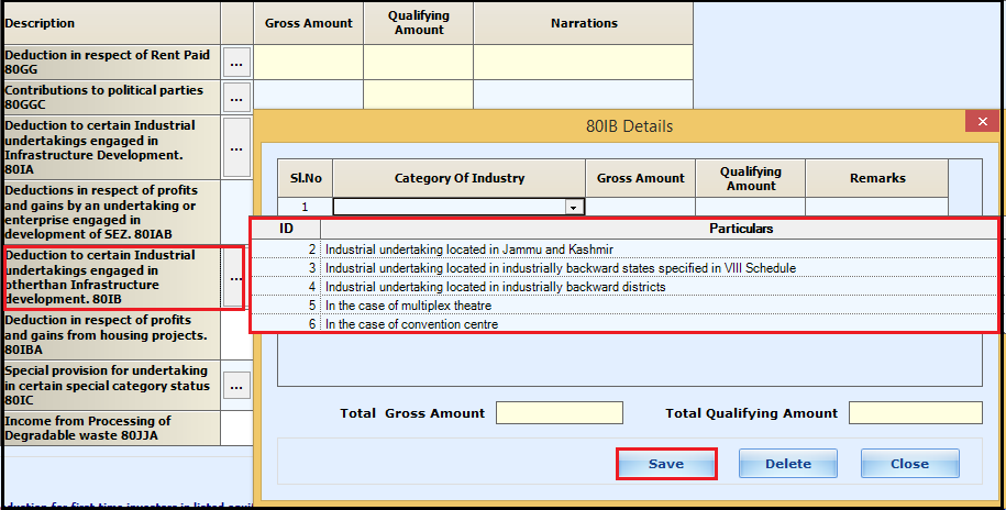 5.Chapter VI-A deductions in ITR-3-80IB
