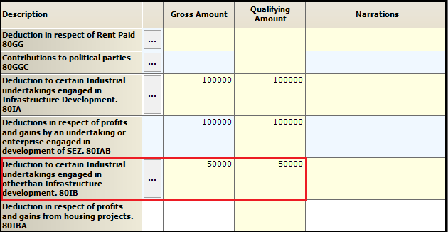 6.Chapter VI-A deductions in ITR-3-Enteries