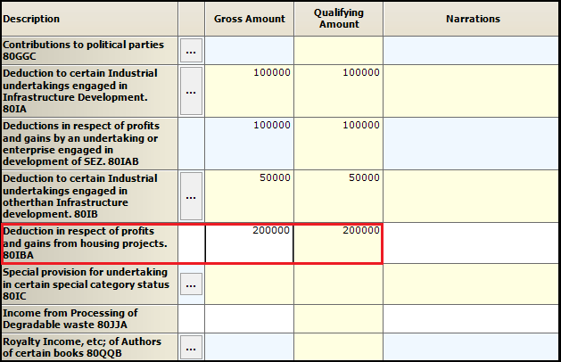 7.Chapter VI-A deductions in ITR-3-80IBA