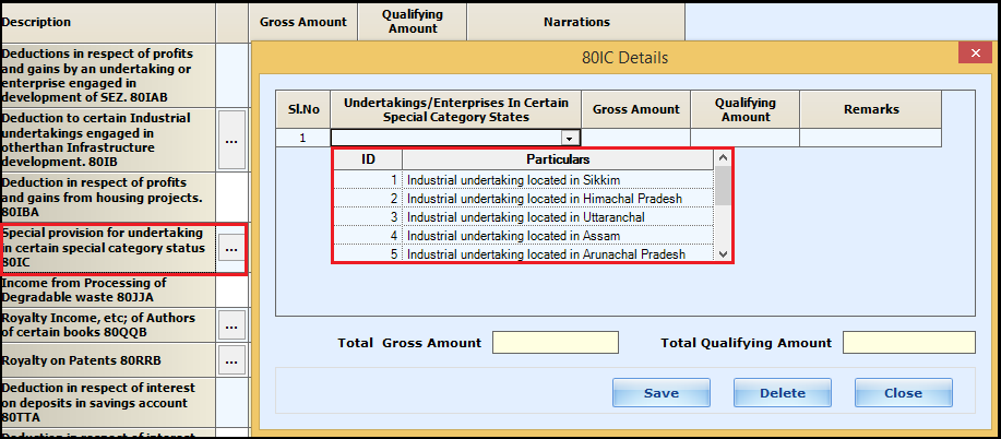 8.Chapter VI-A deductions in ITR-3-80IC
