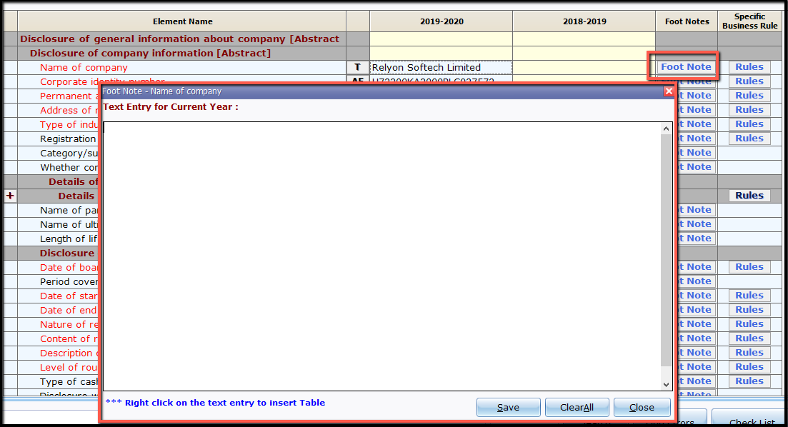 13.New file and company creation- add foot note