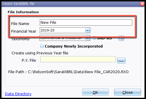 2.New file and company creation- details