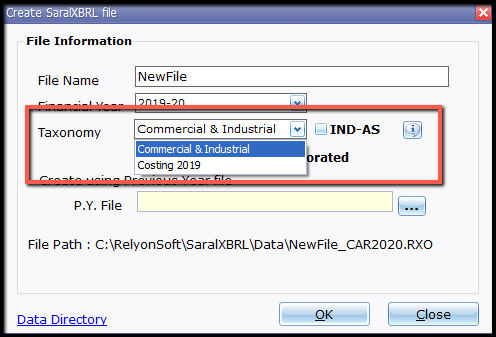 3.New file and company creation- applicability type