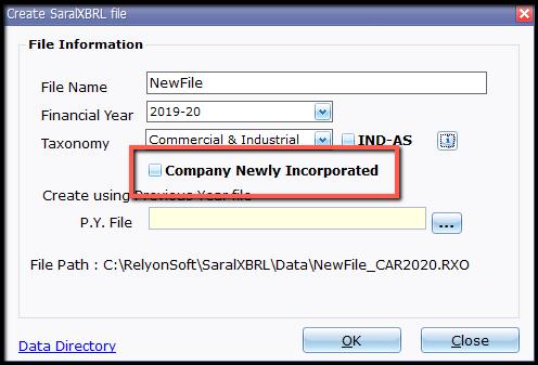 4.New file and company creation- new company