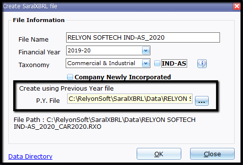 5.New file and company creation- company information page